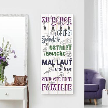 Wandgarderobe Holz - Zu Hause wird gelebt - bunt