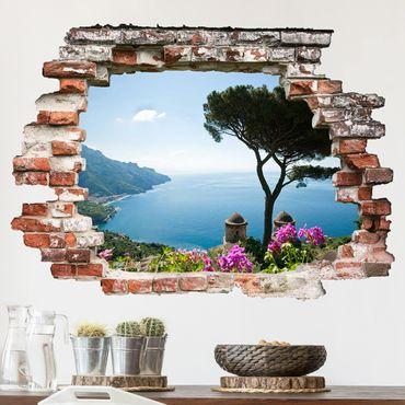 3D Wandtattoo - Ausblick vom Garten aufs Meer - Quer 3:4