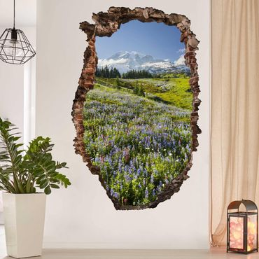 3D Wandtattoo - Bergwiese mit Blumen vor Mt. Rainier - Quadrat 1:1
