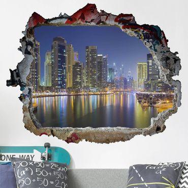 3D Wandtattoo - Dubai Nacht Skyline - Quer 3:4