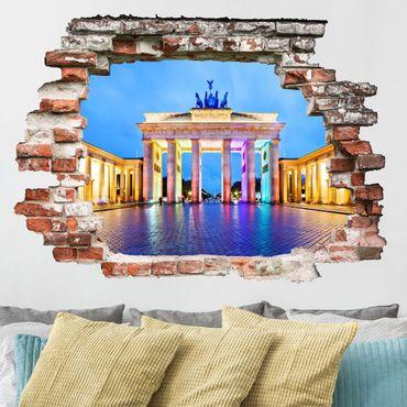 3D Wandtattoo - Erleuchtetes Brandenburger Tor - Quer 3:4
