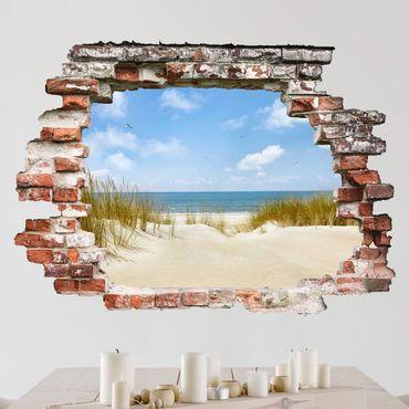 3D Wandtattoo - Strand an der Nordsee - Quer 3:4