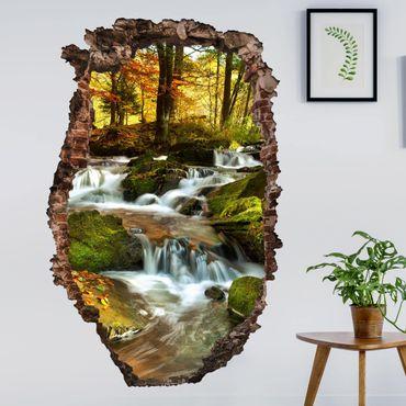 3D Wandtattoo - Wasserfall herbstlicher Wald - Hoch 3:2