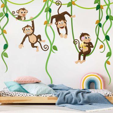 Wandtattoo Babyzimmer Affen Dschungel Safari - No.YK28 Affenbande