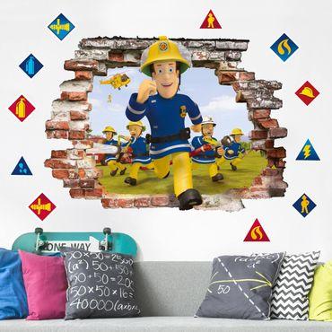 3D Wandtattoo - Feuerwehrmann Sam - Feueralarm