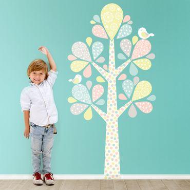 Wandtattoo Kinderzimmer No.YK76 Abstrakter Baum mit großen Tropfenblättern in Pastell