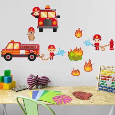 Wandtattoo Kinderzimmer Feuerwehr im Einsatz Set