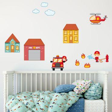 Wandtattoo Kinderzimmer Feuerwehr-Set mit Häusern