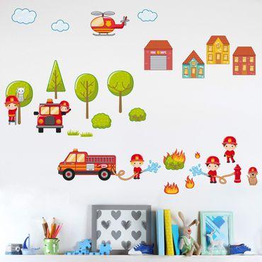 Wandtattoo Kinderzimmer Großes Feuerwehr-Set Feuerwehrmann Feuerwehrauto