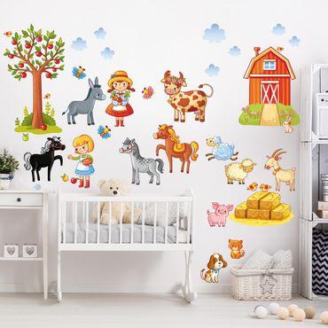 Wandtattoo Kinderzimmer Kleines Bauernhof-Set
