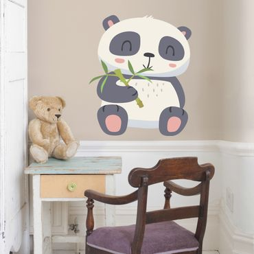 Wandtattoo Kinderzimmer Panda nascht am Bambus