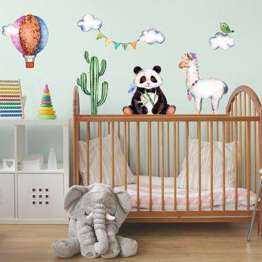 Wandtattoo Kinderzimmer Panda und Lama Aquarell Set