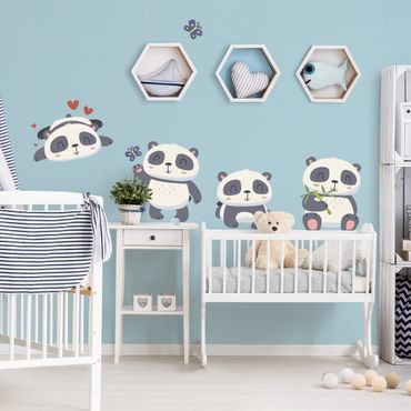 Wandtattoo Kinderzimmer Süßes Pandabären Set