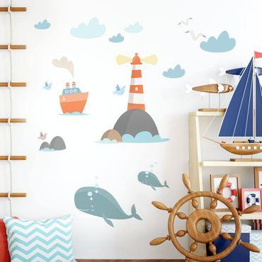 Wandtattoo - Leuchtturm und Wale