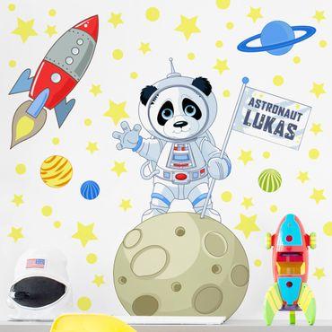 Wandtattoo mit Wunschtext - Astronaut Panda