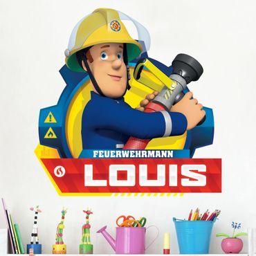 Wandtattoo mit Wunschtext - Feuerwehrmann Sam - mit Wunschnamen