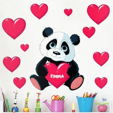 Wandtattoo mit Wunschtext - Panda mit Herz