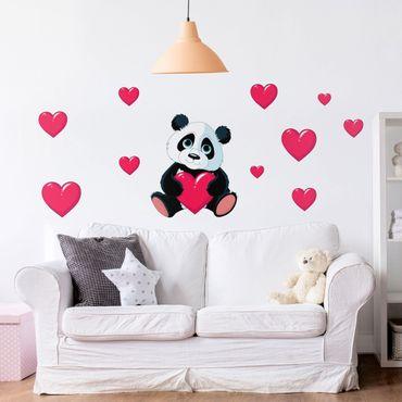 Wandtattoo - Panda mit Herzen