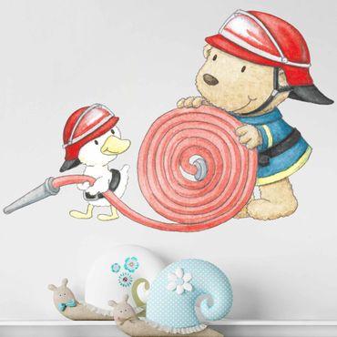 Wandtattoo - Pitzelpatz und Schnaddeldatz als Feuerwehr