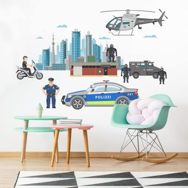 Wandtattoo - Polizei und Polizeiautos Set