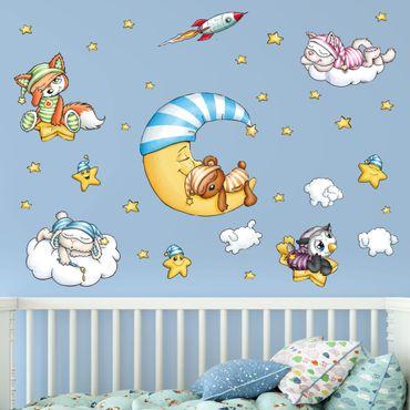 Wandtattoo Kinderzimmer - Schlafmützen - Abendstunde Set