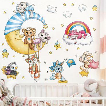 Wandtattoo Kinderzimmer - Schlafmützen - Mond und Sterne Set