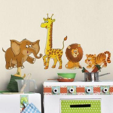 Wandtattoo Tiger Löwe Elefant Giraffe No.68 Safari Set
