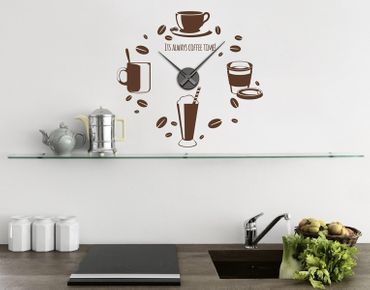 Wandtattoo-Uhr Its Always Coffee Time