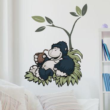 Wandtattoo Wild Friends Affe genießt