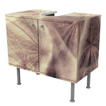 Waschbeckenunterschrank - Detailreiche Pusteblumen Makroaufnahme mit Vintage Blur Effekt - Badschrank Blumen