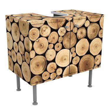 Waschbeckenunterschrank - Holz Homey Firewood - Holzoptik Badschrank Braun
