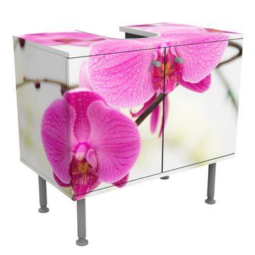 Waschbeckenunterschrank - Nahaufnahme Orchidee - Blumen Badschrank Weiß
