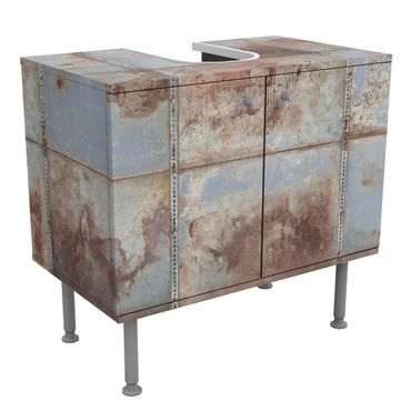 Waschbeckenunterschrank - Shabby Industrial Metalloptik - Badschrank