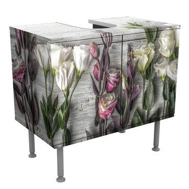 Waschbeckenunterschrank - Tulpen-Rose Shabby Holzoptik - Blumen Badschrank