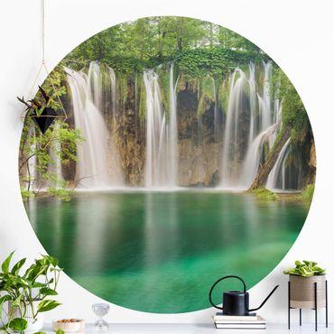Runde Tapete selbstklebend - Wasserfall Plitvicer Seen