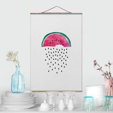 Stoffbild mit Posterleisten - Wassermelonen Regen - Hochformat 2:3