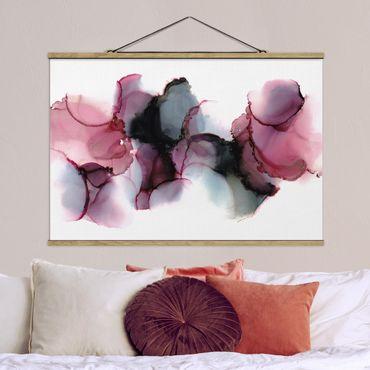 Stoffbild mit Posterleisten - Weg des Windes Violett und Gold - Querformat 3:2