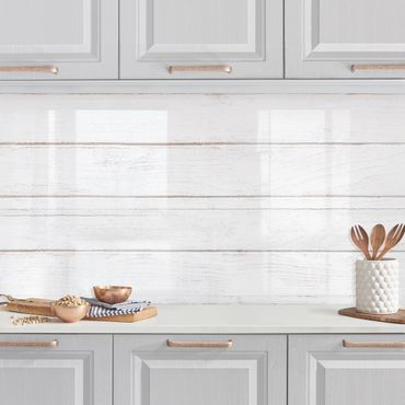 Küchenrückwand - Weiße Holzplanken Shabby