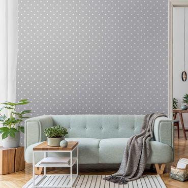 Metallic Tapete  - Weiße Punkte auf Grau