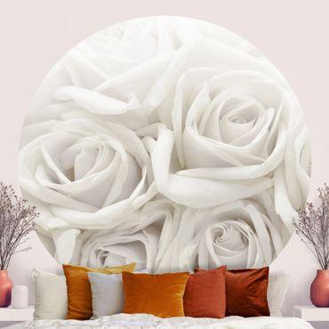 Runde Tapete selbstklebend - Weiße Rosen