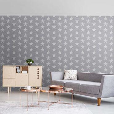 Metallic Tapete  - Weiße Sterne auf grauem Hintergrund