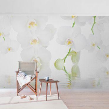 Metallic Tapete  - Wellness Orchidee - Weiße Orchidee