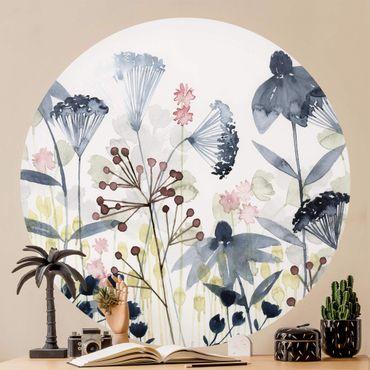 Runde Tapete selbstklebend - Wildblumen Aquarell I