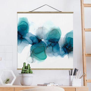 Stoffbild mit Posterleisten - Wilde Blüten in Blau und Gold - Quadrat 1:1