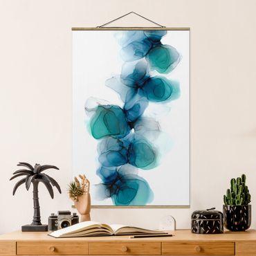 Stoffbild mit Posterleisten - Wilde Blüten in Blau und Gold - Hochformat 2:3