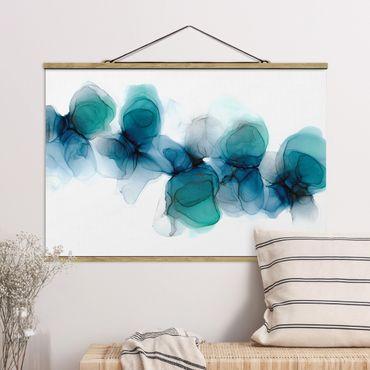 Stoffbild mit Posterleisten - Wilde Blüten in Blau und Gold - Querformat 3:2