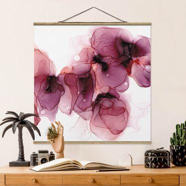 Stoffbild mit Posterleisten - Wilde Blüten in Violett und Gold - Quadrat 1:1