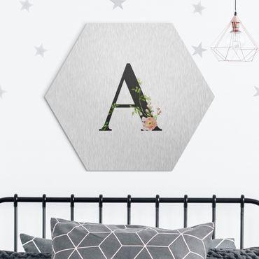Hexagon-Alu-Dibond Bild - Wunschbuchstabe Aquarell Blumen