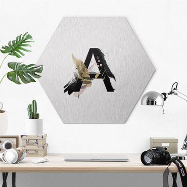 Hexagon-Alu-Dibond Bild - Wunschbuchstabe Aquarell