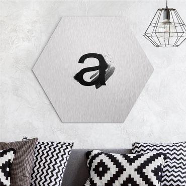 Hexagon-Alu-Dibond Bild - Wunschbuchstabe Aquarell Schwarz